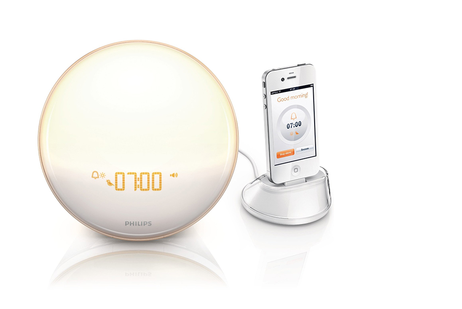 Philips HF3550/60 Iphone Controlled Wake-Up Light with Colored Sunrise Simulation, White